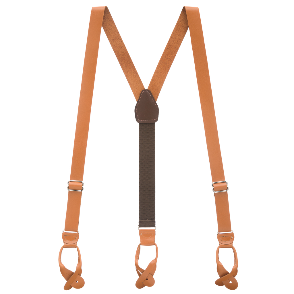 All Leather Button Suspenders in Tan - Full View