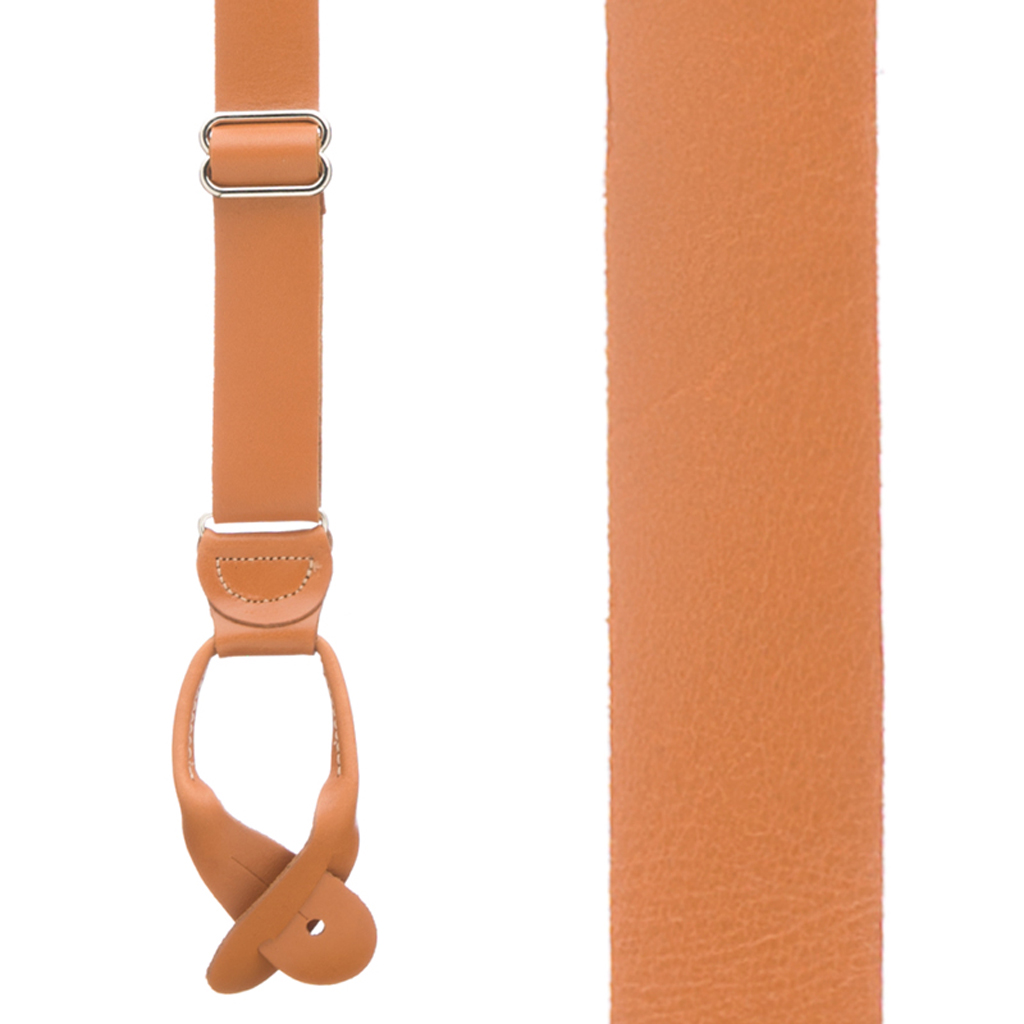 All Leather Button Suspenders in Tan - Front View