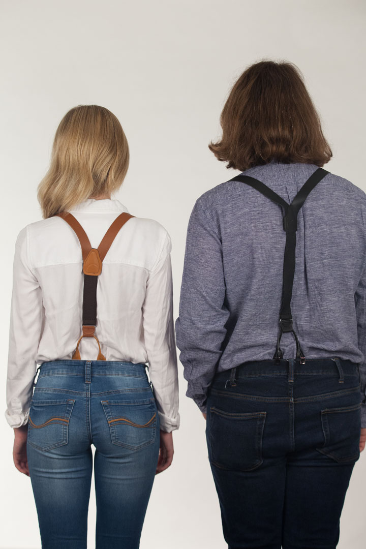 Models wearing suspenders