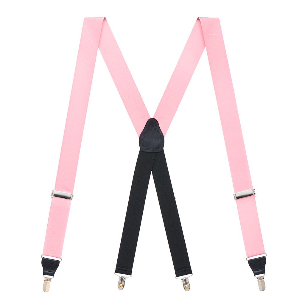 Grosgrain Clip Suspenders - Light Pink Full View
