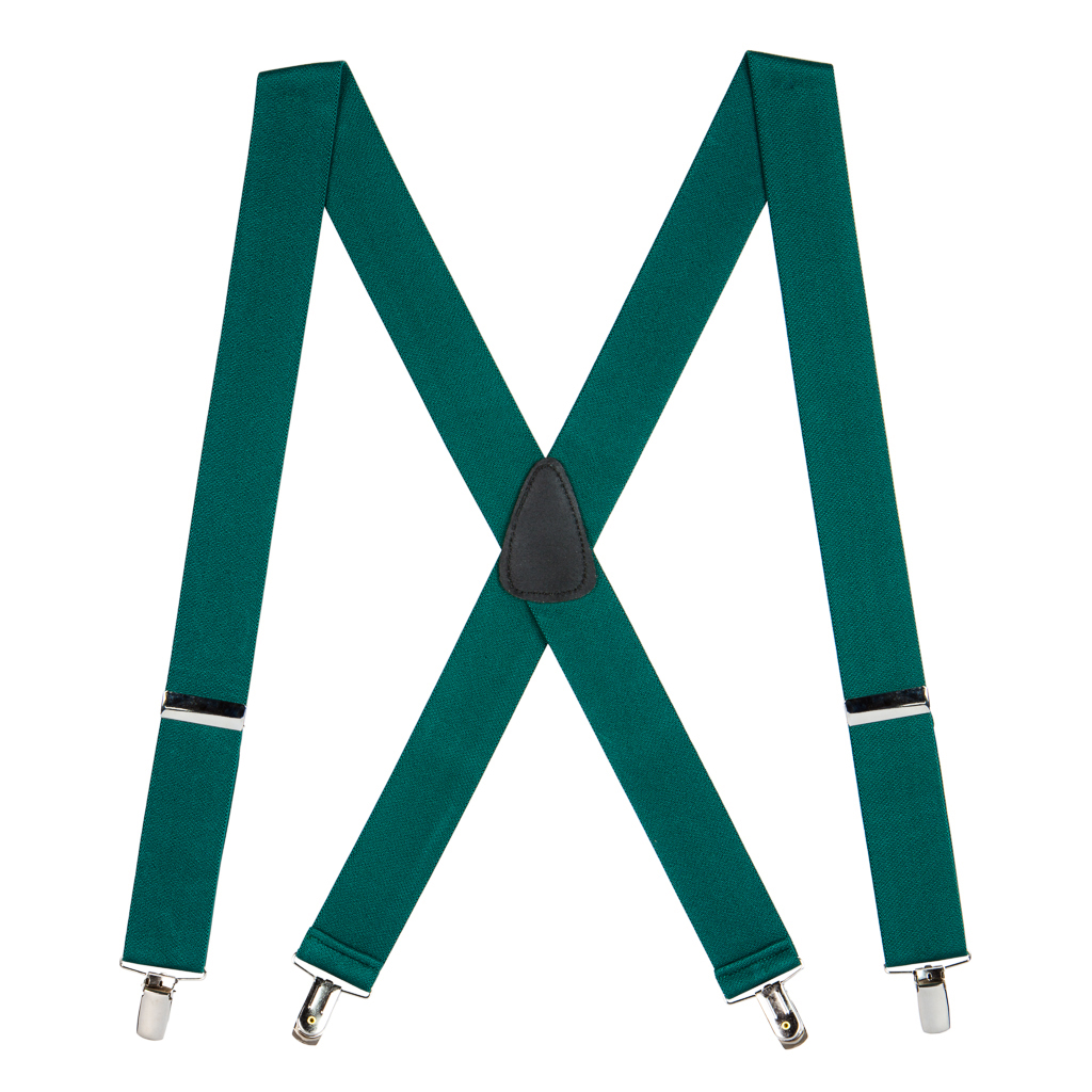 1.5 Inch Wide Suspenders in Green - Full View