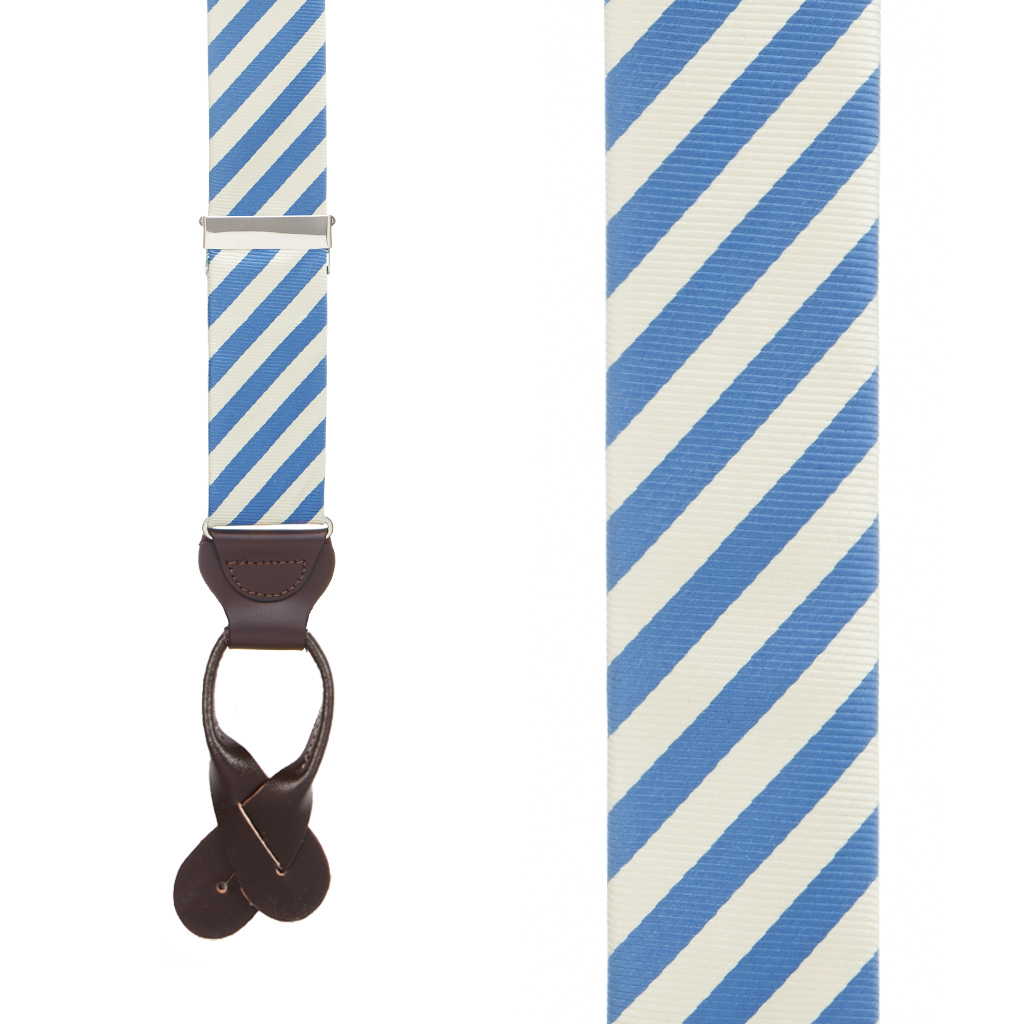 Blue/Ivory Diagonal Stripe Silk Suspenders - Front View