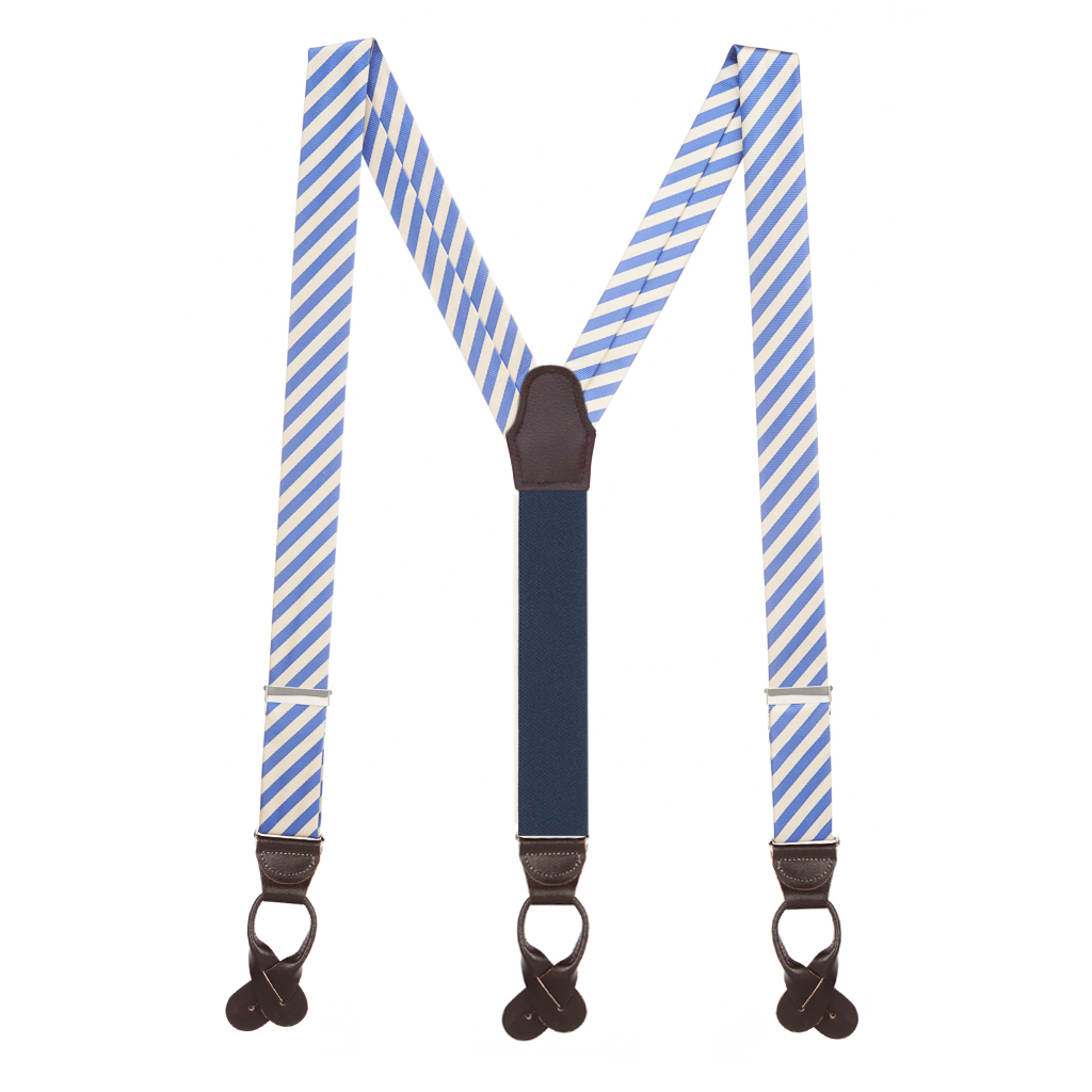 Blue/Ivory Diagonal Stripe Silk Suspenders - Full View