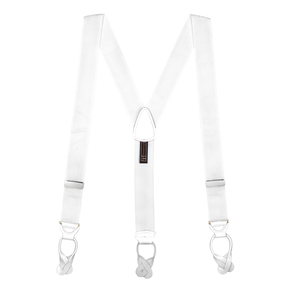 Oxford Cloth Suspenders in White - Full View