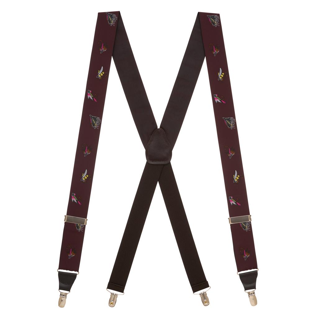 Vintage Ribbon Fly Fishing Suspenders in Burgundy - Full View
