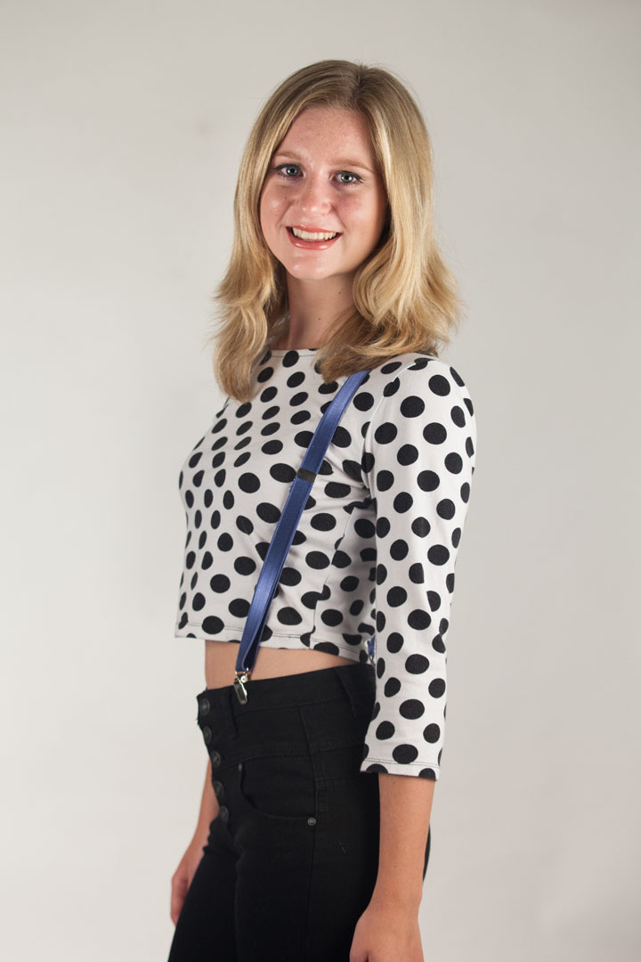 Model Wearing 3/4 Inch Wide Thin Suspenders - POWDER BLUE (Satin) - Side View