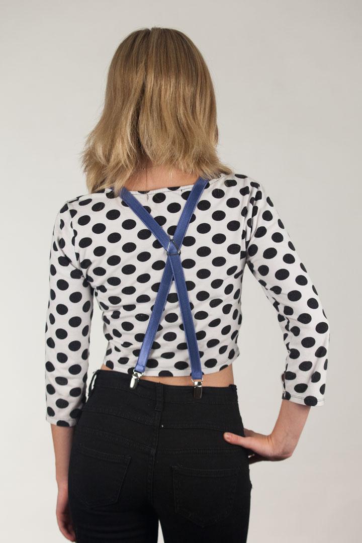 Model Wearing 3/4 Inch Wide Thin Suspenders - POWDER BLUE (Satin) - Rear View