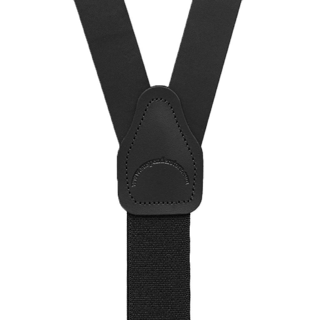 Buckle Strap Leather Suspenders in Black - Rear View