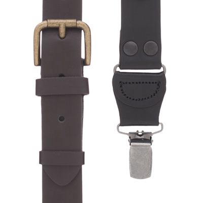 Buckle Strap Leather Suspenders - All Colors