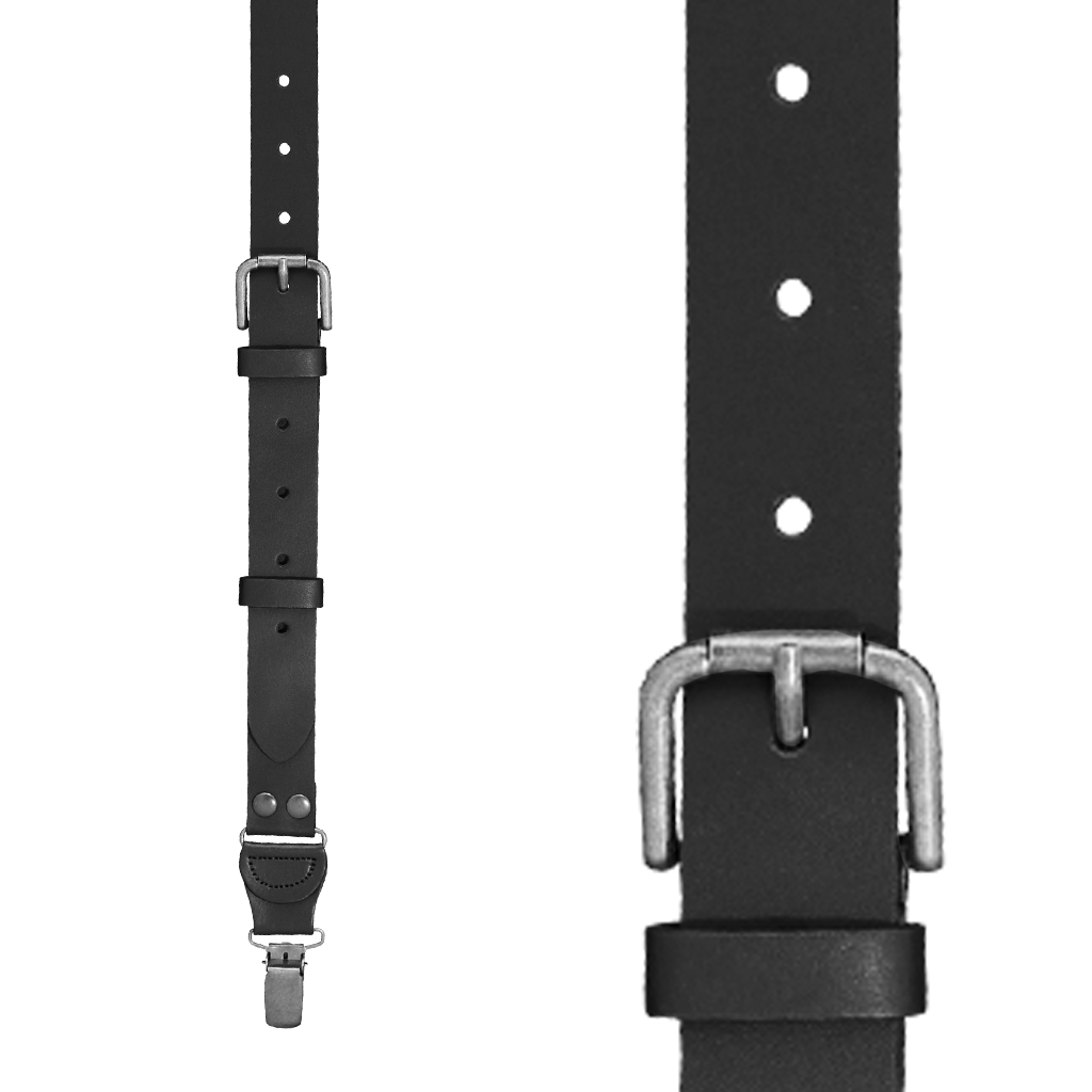 Front View - Buckle Strap Leather Suspenders - 1-Inch, Clip - Black