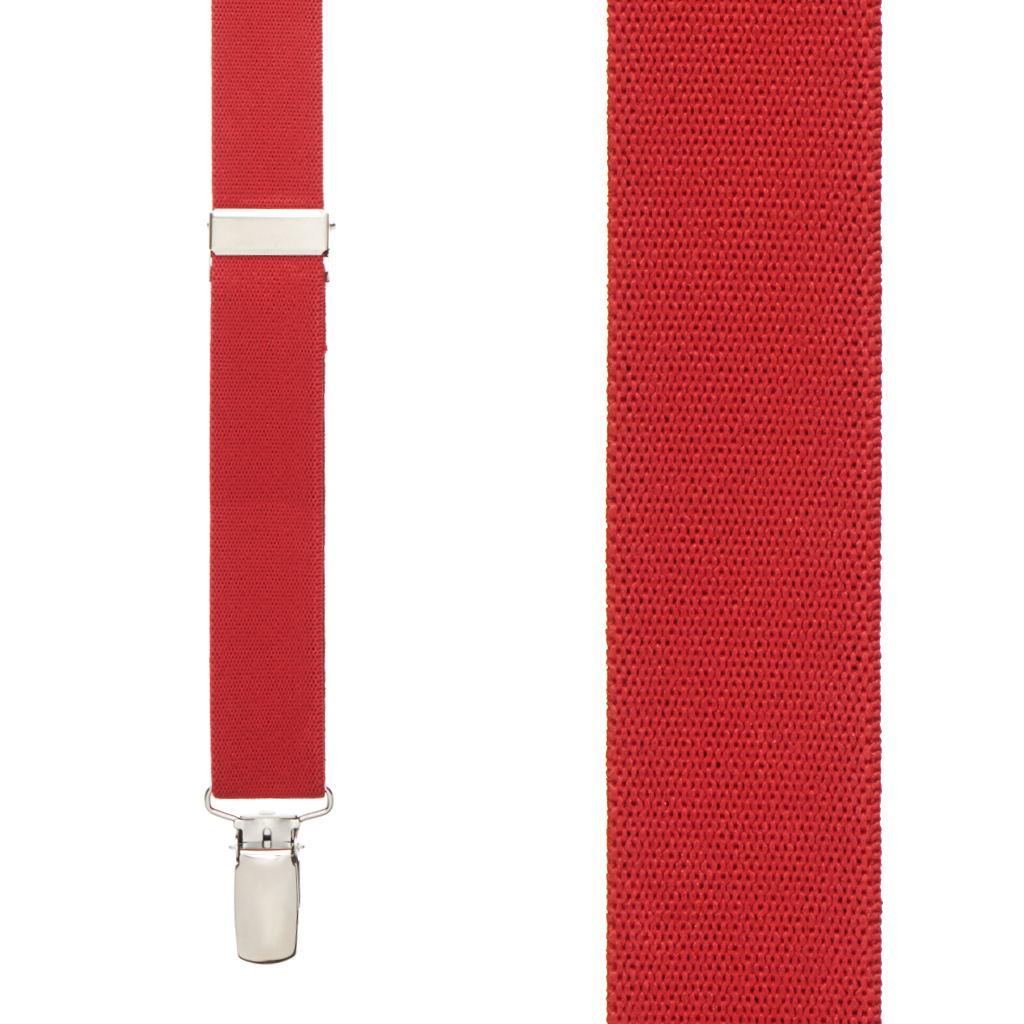 1 Inch Wide Clip Y-Back Suspenders in Red - Front View