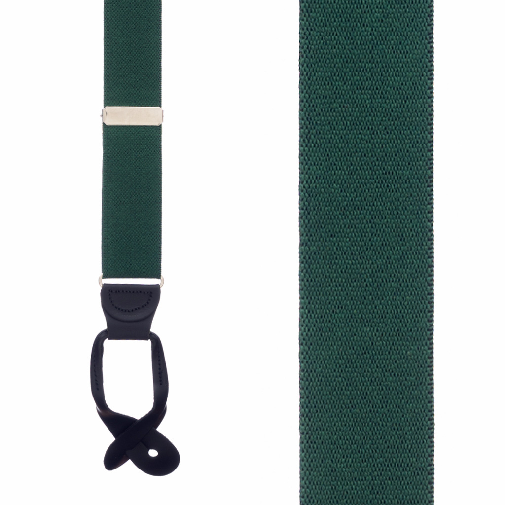 1.5 Inch Wide Button Suspenders in Green - Front View