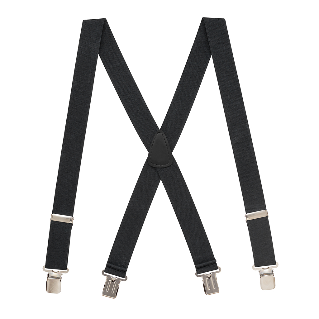 Full View - 1.5 Inch Wide Construction Clip Suspenders - Black