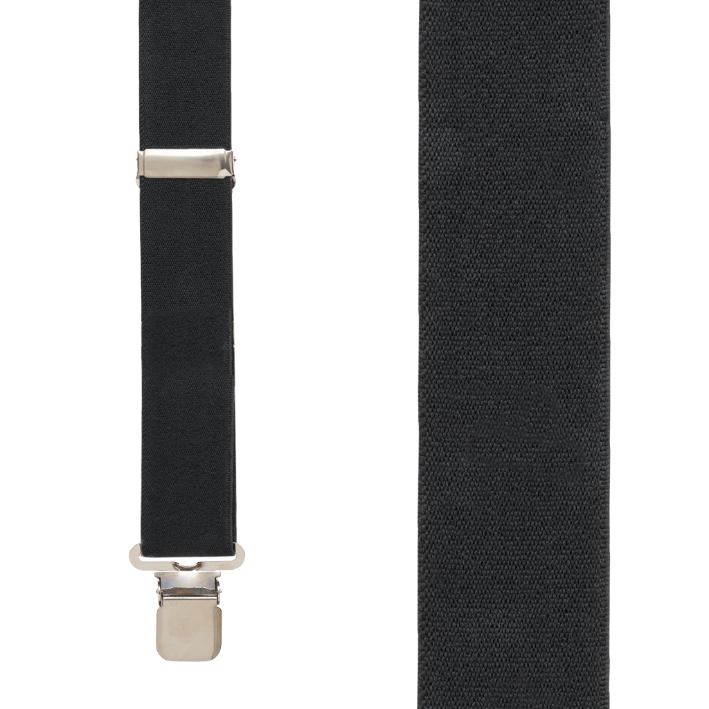 Front View - 1.5 Inch Wide Construction Clip Suspenders - Black