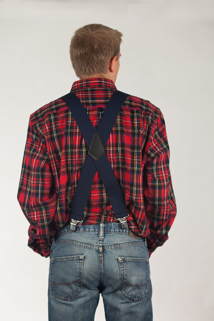 Classic Suspenders - Model View Rear - Navy Blue