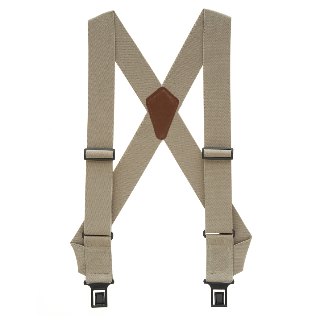 Perry Suspenders - Full View - Tan Side Clip
