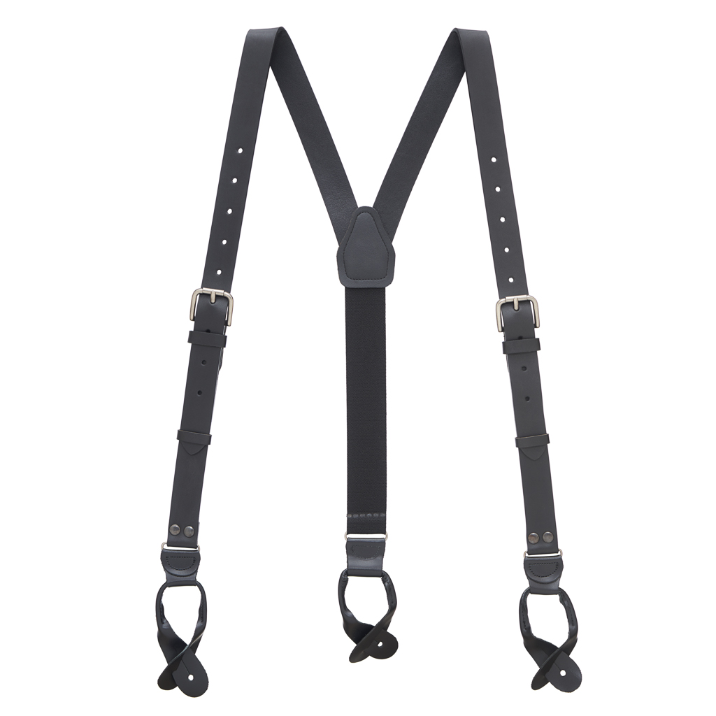 Buckle Strap Leather Suspenders in Black - Full View