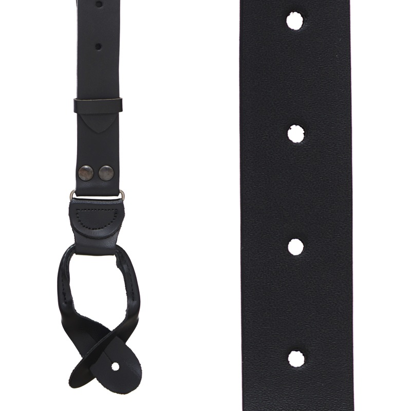 Buckle Strap Leather Suspenders in Black - Front View
