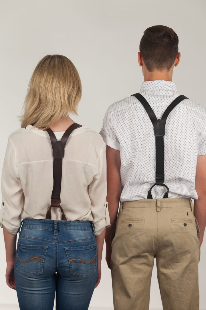 Buckle Strap Leather Suspenders, 1-Inch - Button