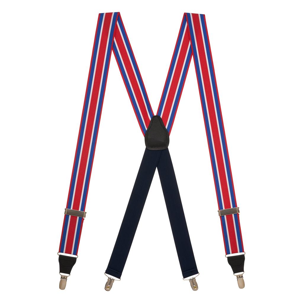 Grosgrain Clip Suspenders - Red White Blue Stripe Full View