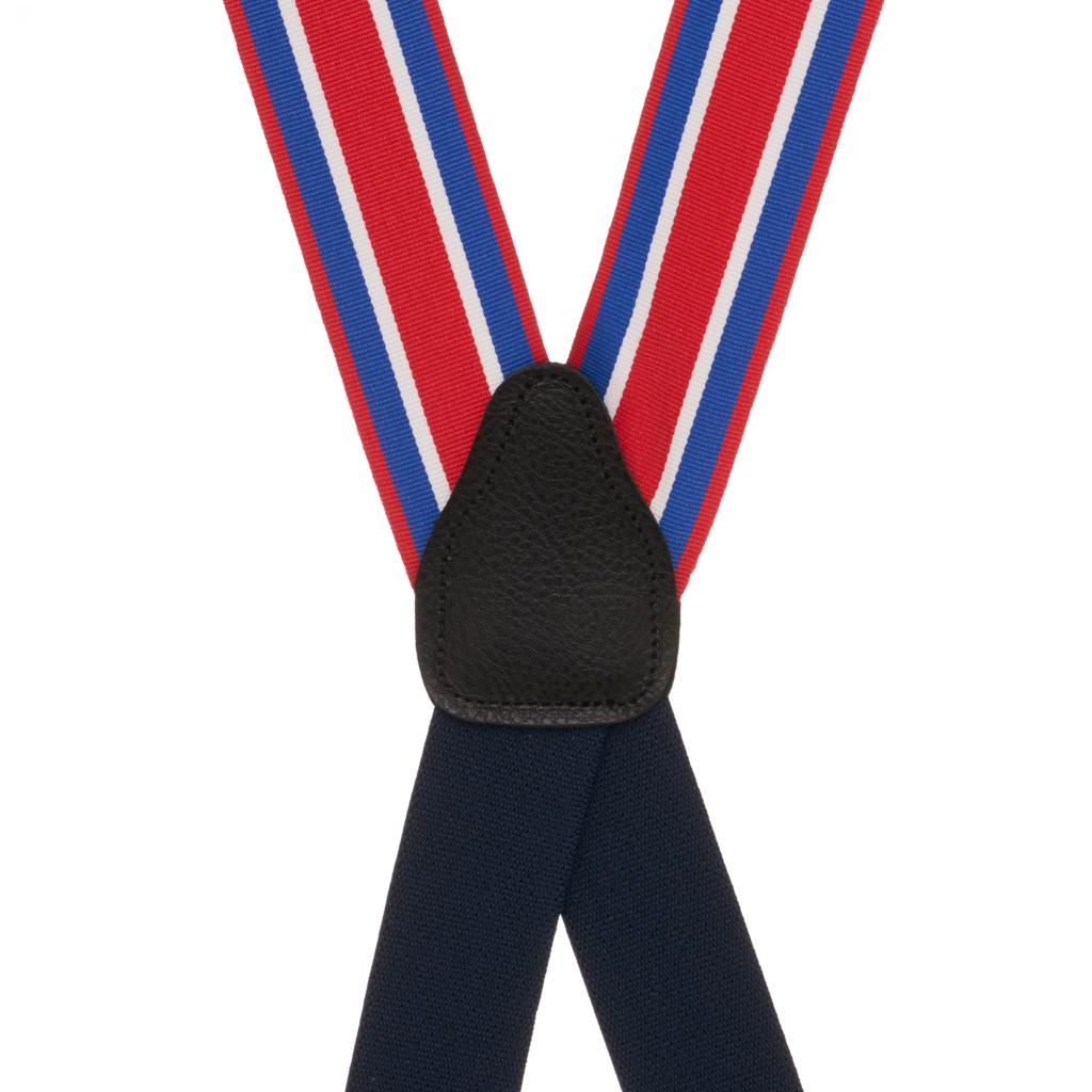 Grosgrain Clip Suspenders - Red White Blue Stripe Rear View