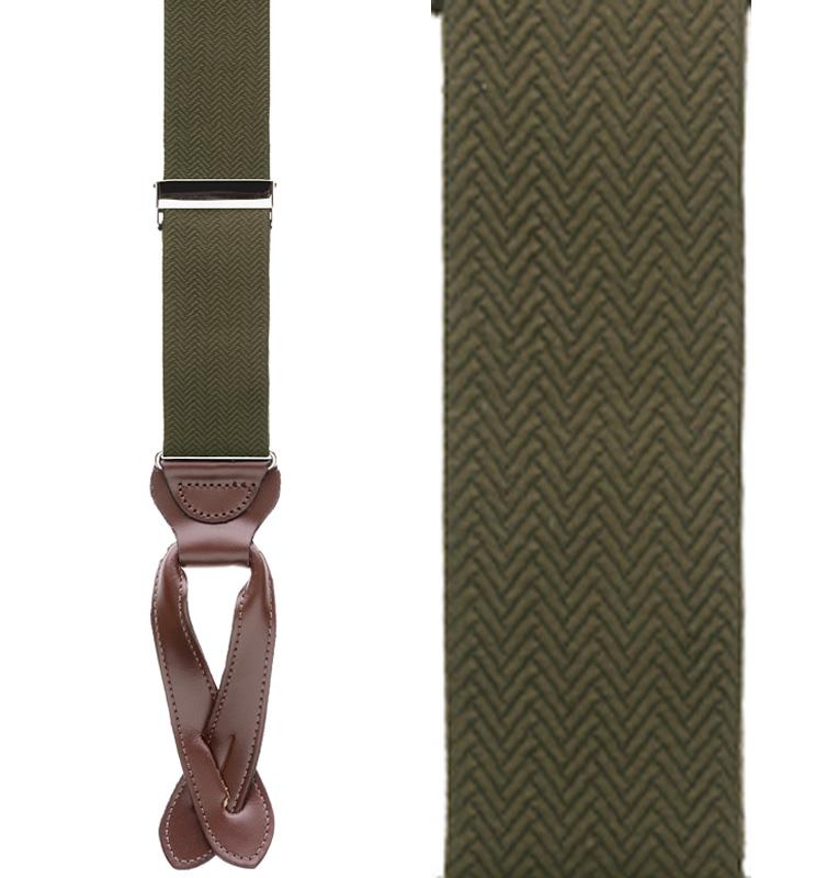 Olive Green Herringbone Silk Suspenders - Button Front View