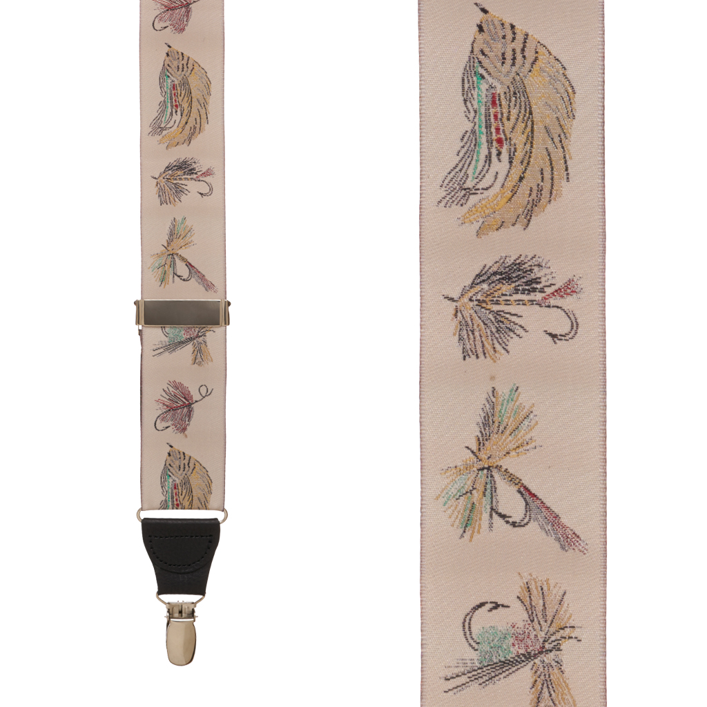 Vintage Ribbon Fly Fishing Suspenders - Front View