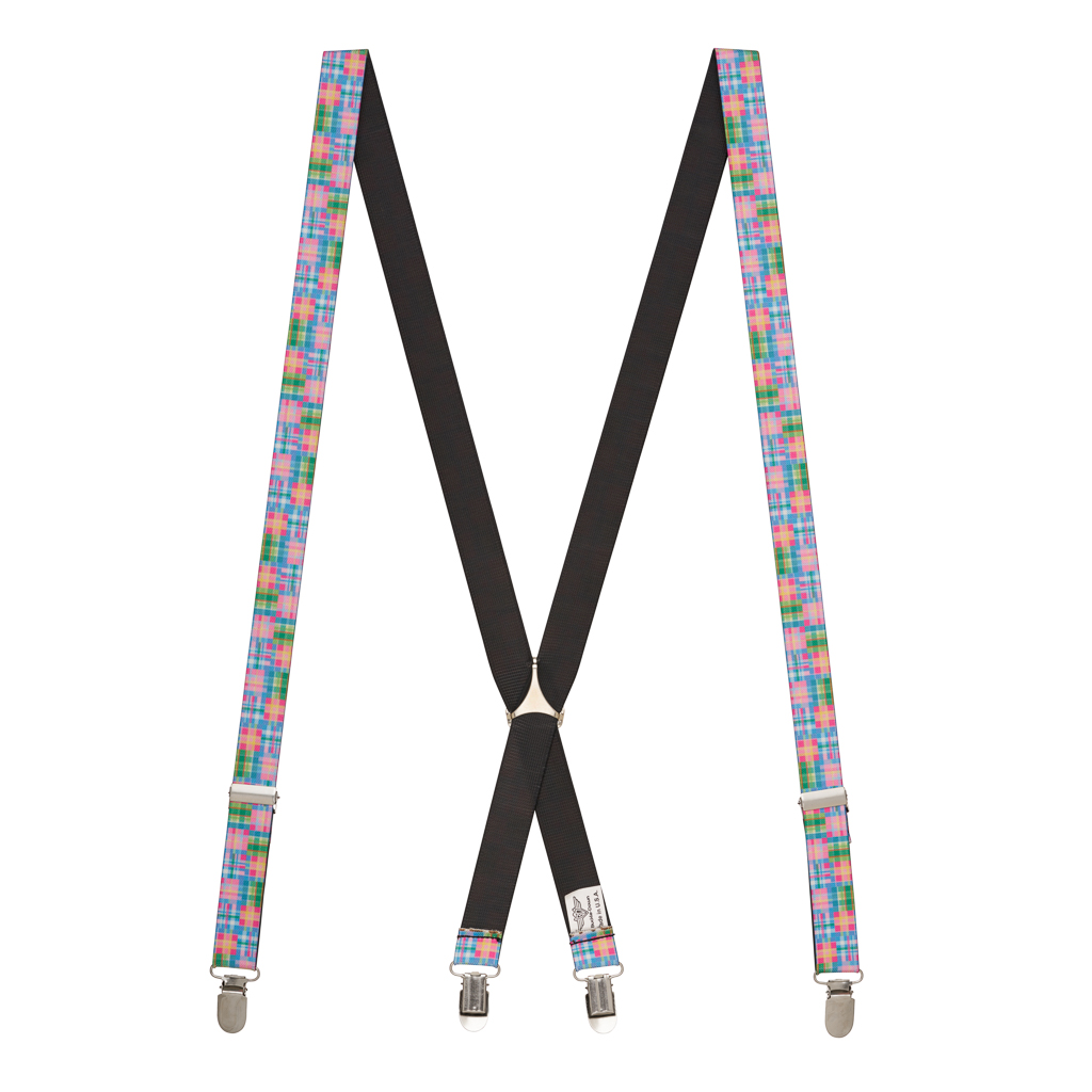 Pink Madras Suspenders - Full View
