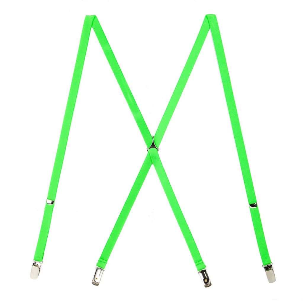 Skinny Suspenders in Neon Green - Full View