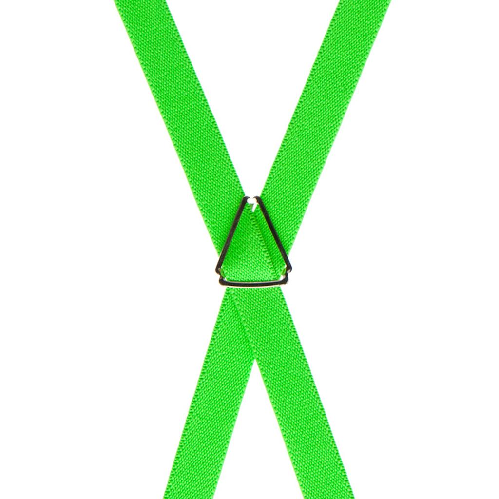 Skinny Suspenders in Neon Green - Rear View