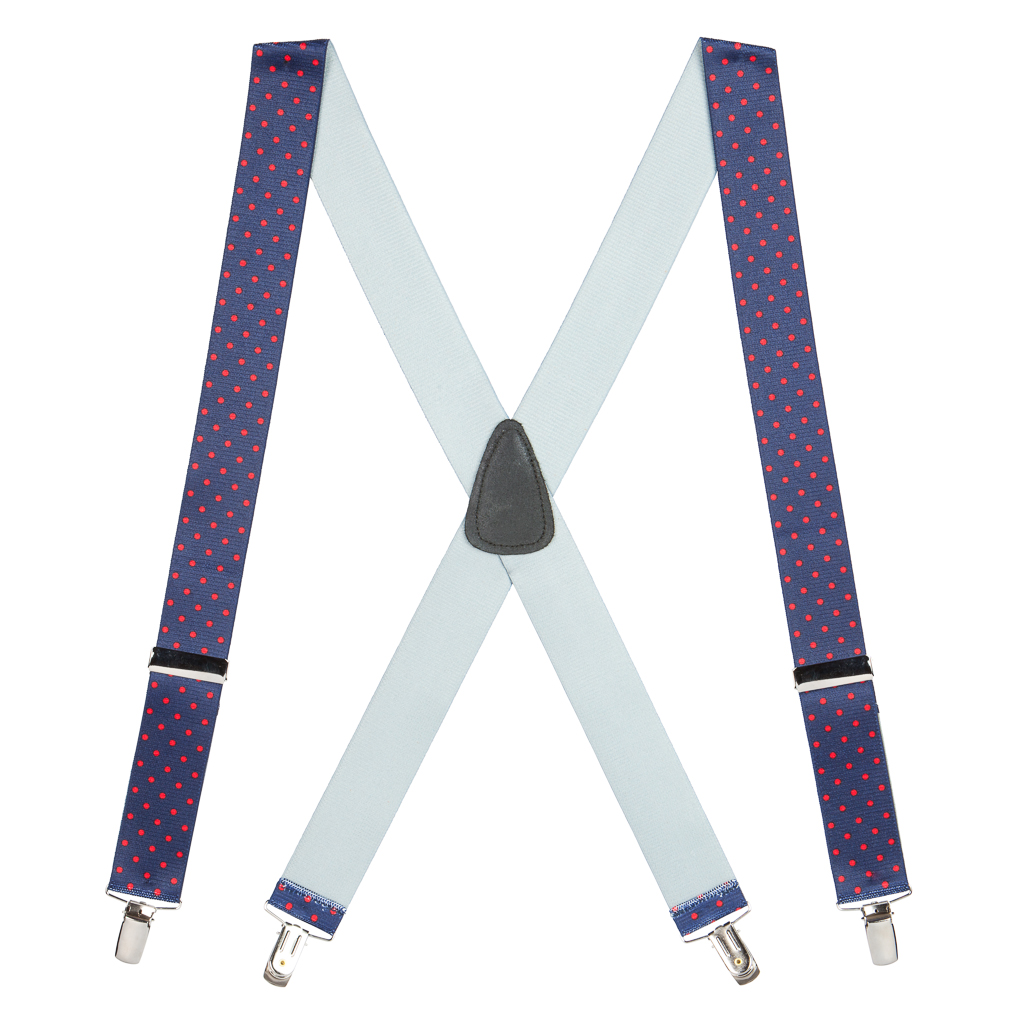 Full View - Polka Dot Suspenders - Red on Navy 1.5 Inch Wide Clip