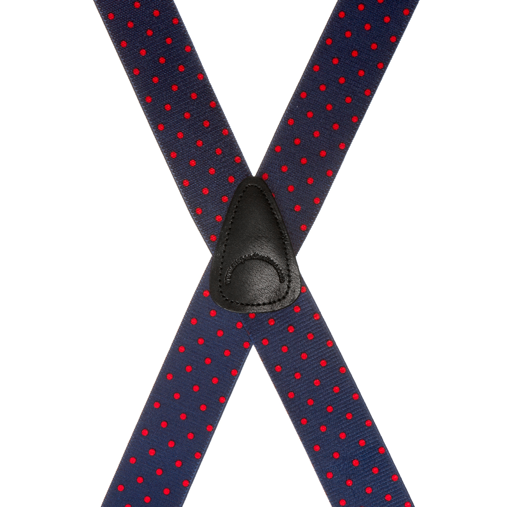 Rear View - Polka Dot Suspenders - Red on Navy 1.5 Inch Wide Clip