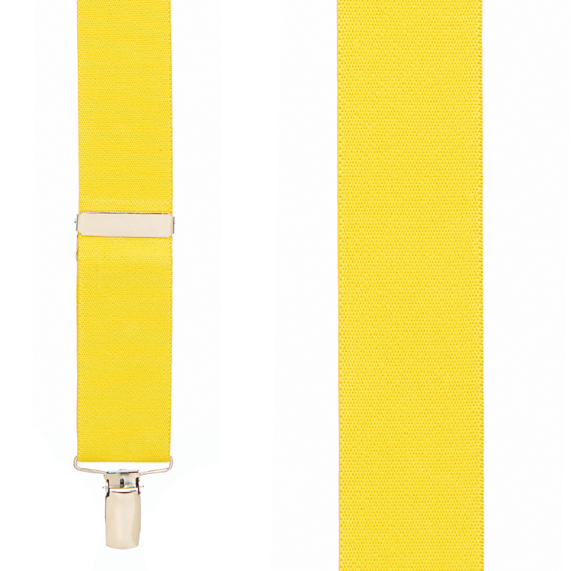 Front View - 1.5 Inch Wide Clip Suspenders - YELLOW