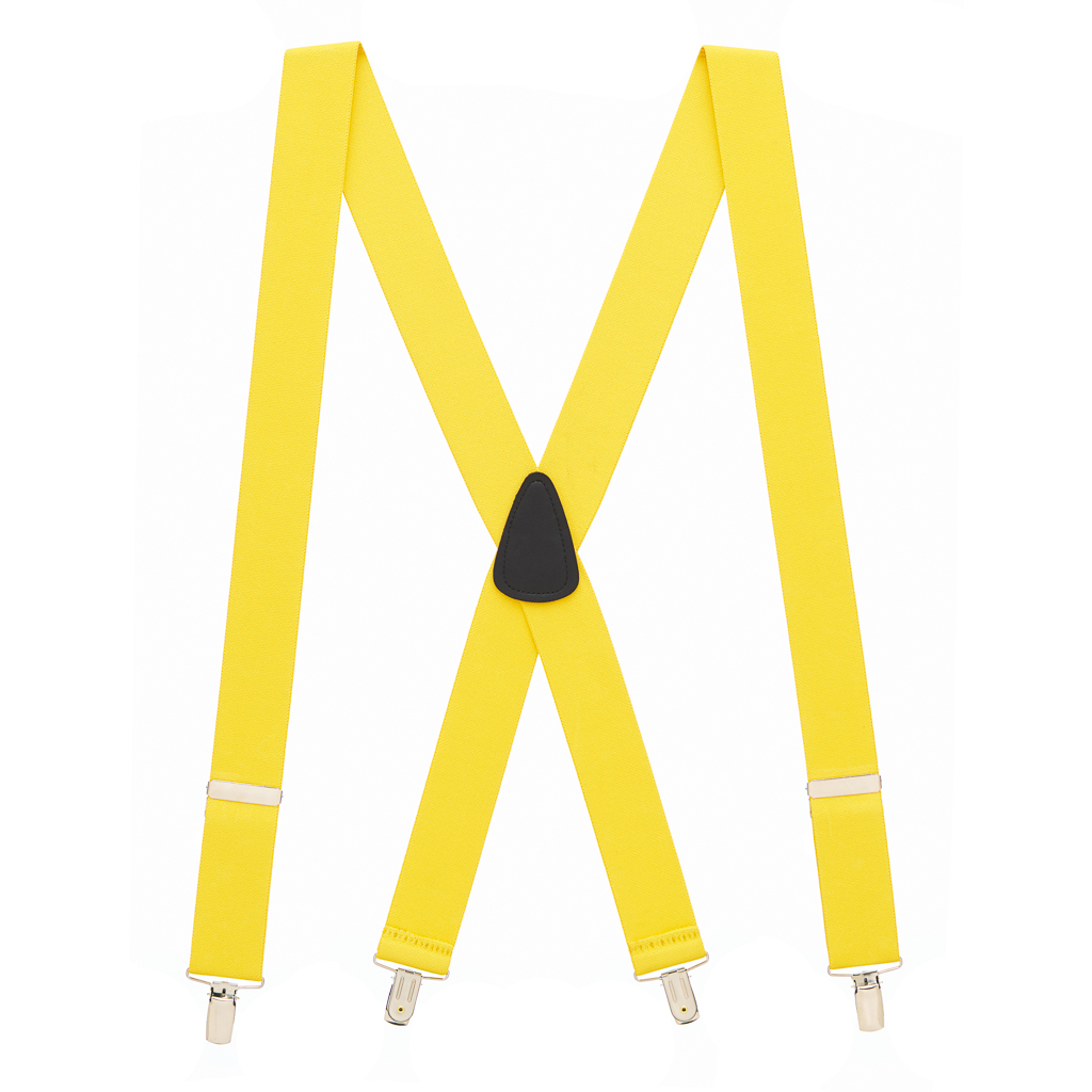 Full View - 1.5 Inch Wide Clip Suspenders - YELLOW