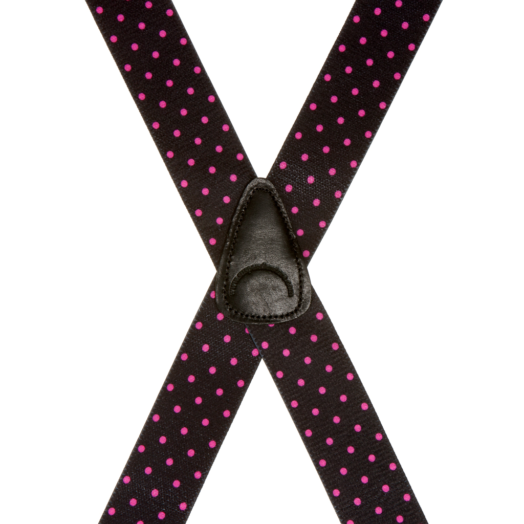 Rear View - Pink Polka Dots on Black Suspenders - 1.5 Inch Wide Clip
