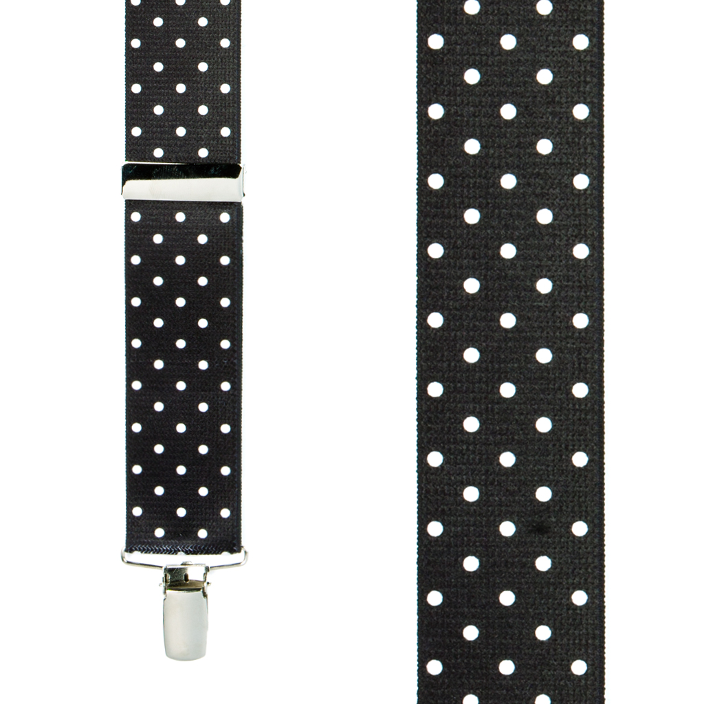Front View - Polka Dot Suspenders - White on Black 1.5 Inch Wide Clip
