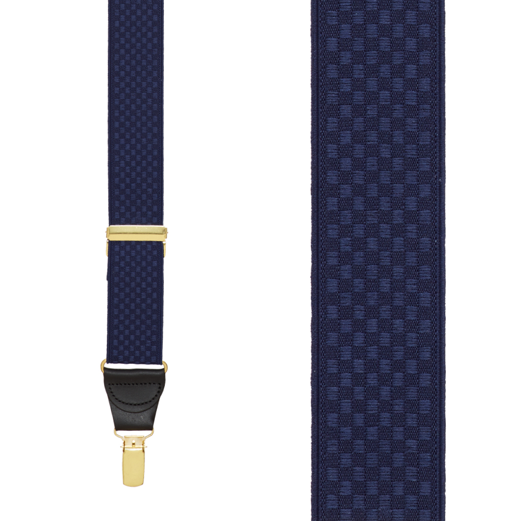 Front View - Jacquard Checkered Clip Suspenders - Navy Blue
