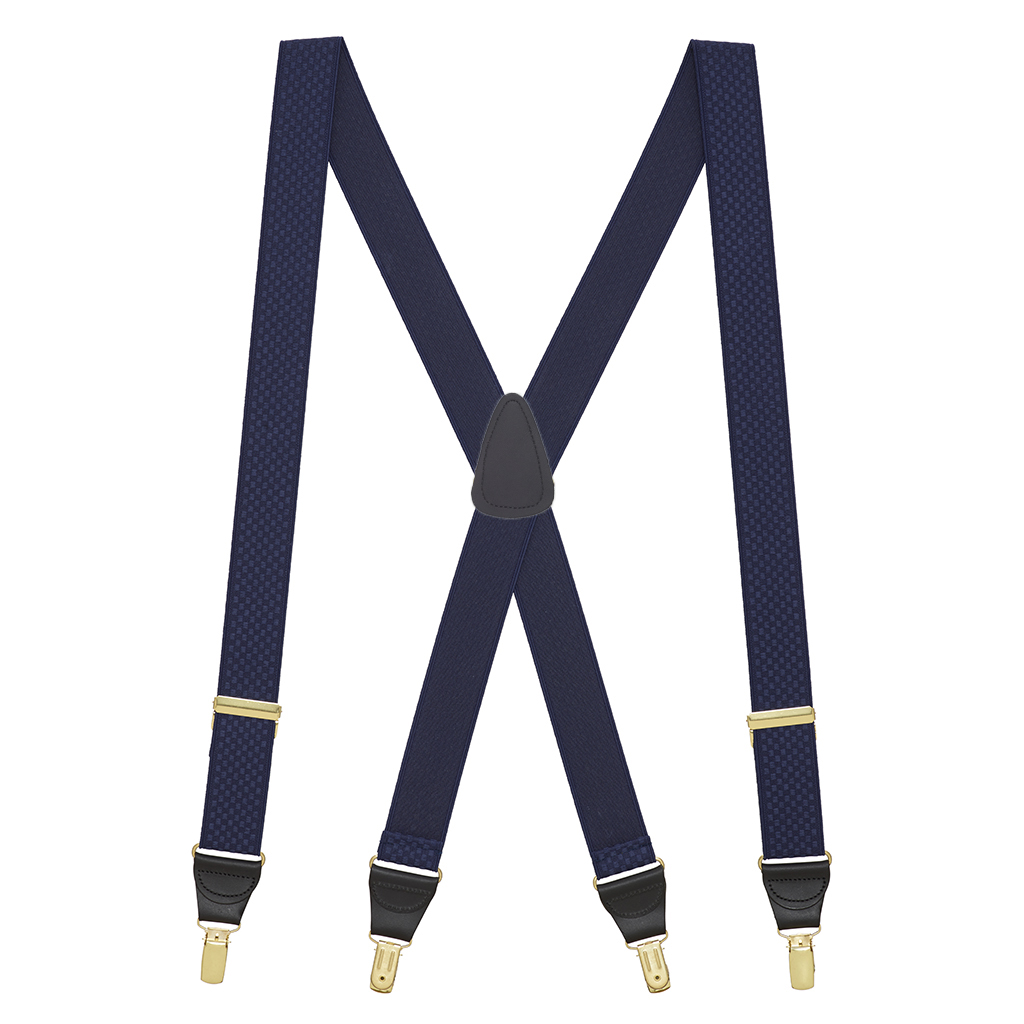 Full View - Jacquard Checkered Clip Suspenders - Navy Blue