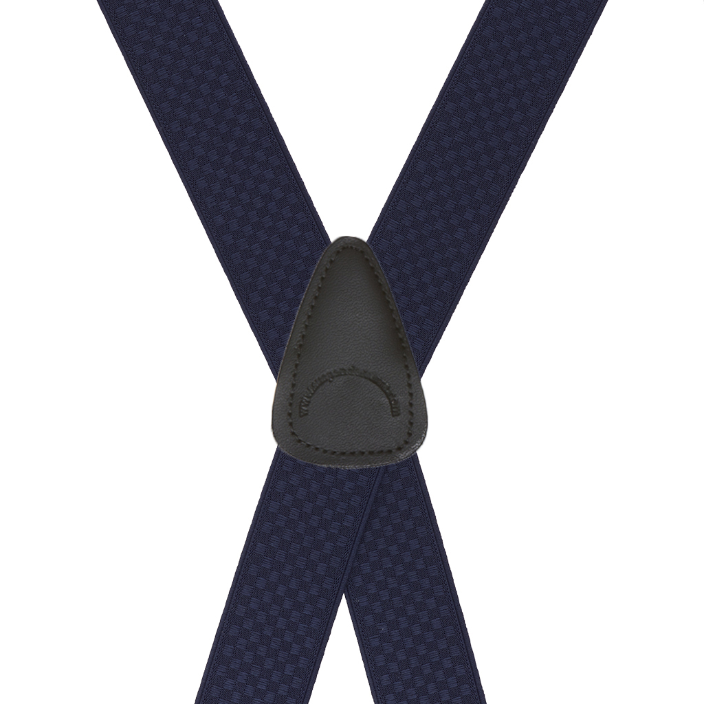Rear View - Jacquard Checkered Clip Suspenders - Navy Blue