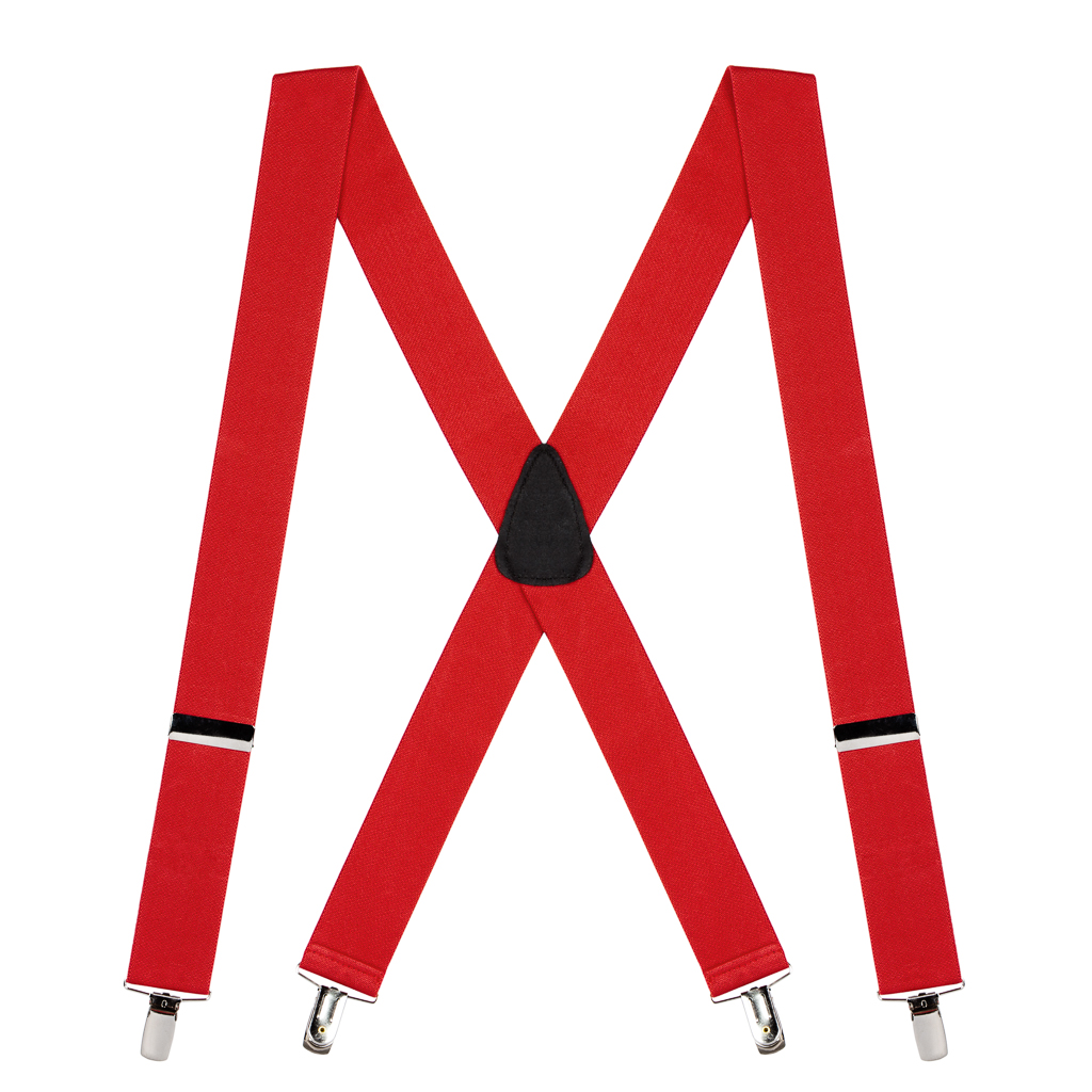 Full View - 1.5 Inch Wide Clip Suspenders - RED
