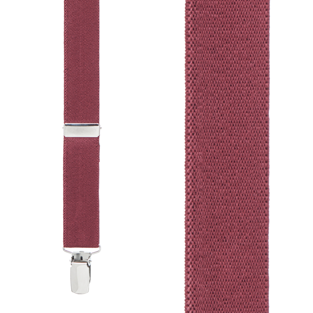 1 Inch Wide Clip X-Back Suspenders in Burgundy - Front View