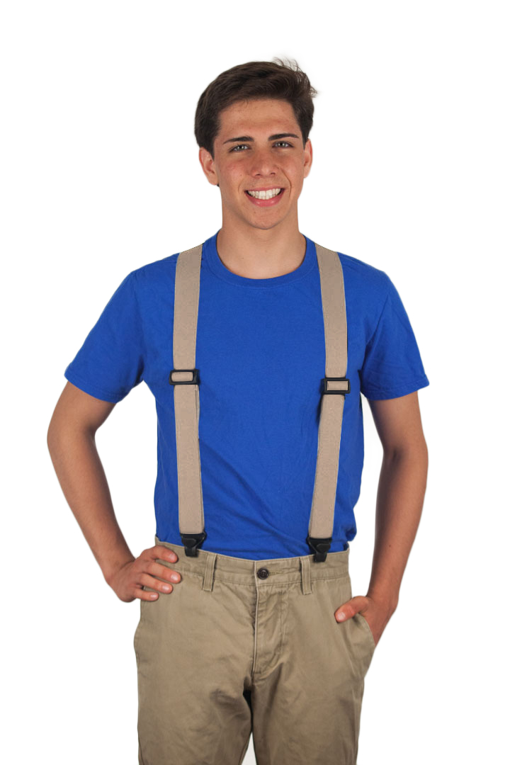 Tan Airport Friendly Suspenders - BuzzNot Clip