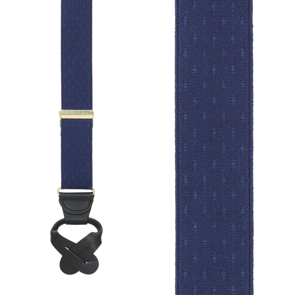 Navy Blue Jacquard Suspenders - Petite Diamonds Button - Front View
