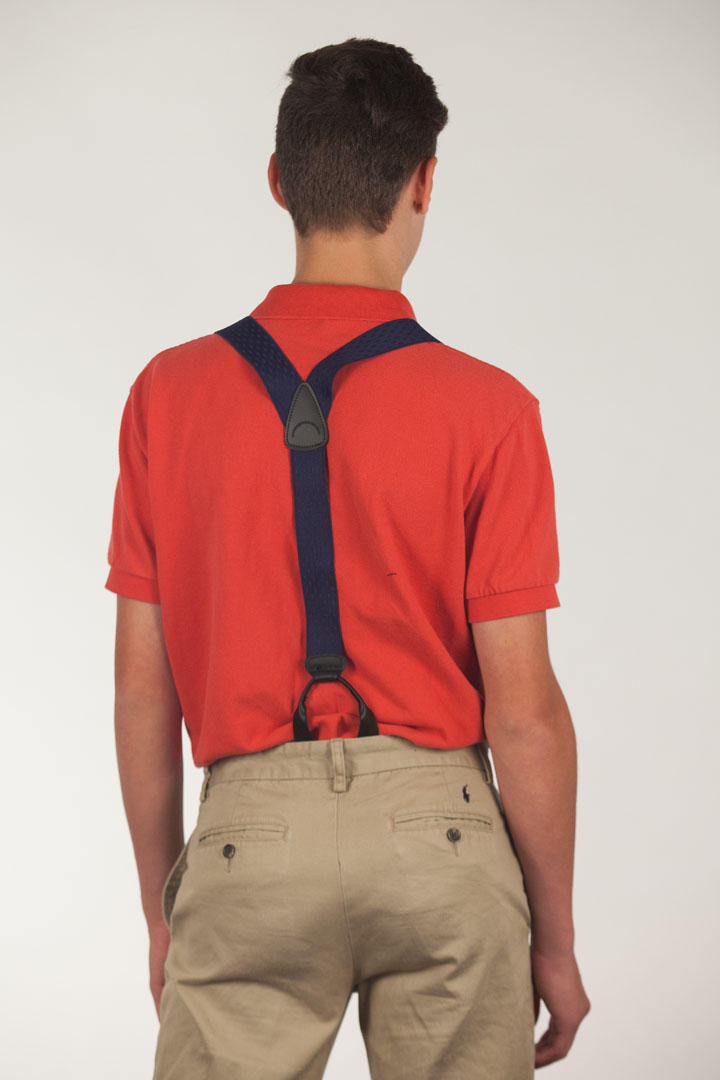 Model Wearing Navy Blue Jacquard Suspenders - Petite Diamonds Button - Rear View
