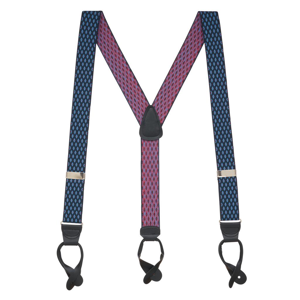 NAVY Jacquard Diamond Burst Suspenders - Button - Full View