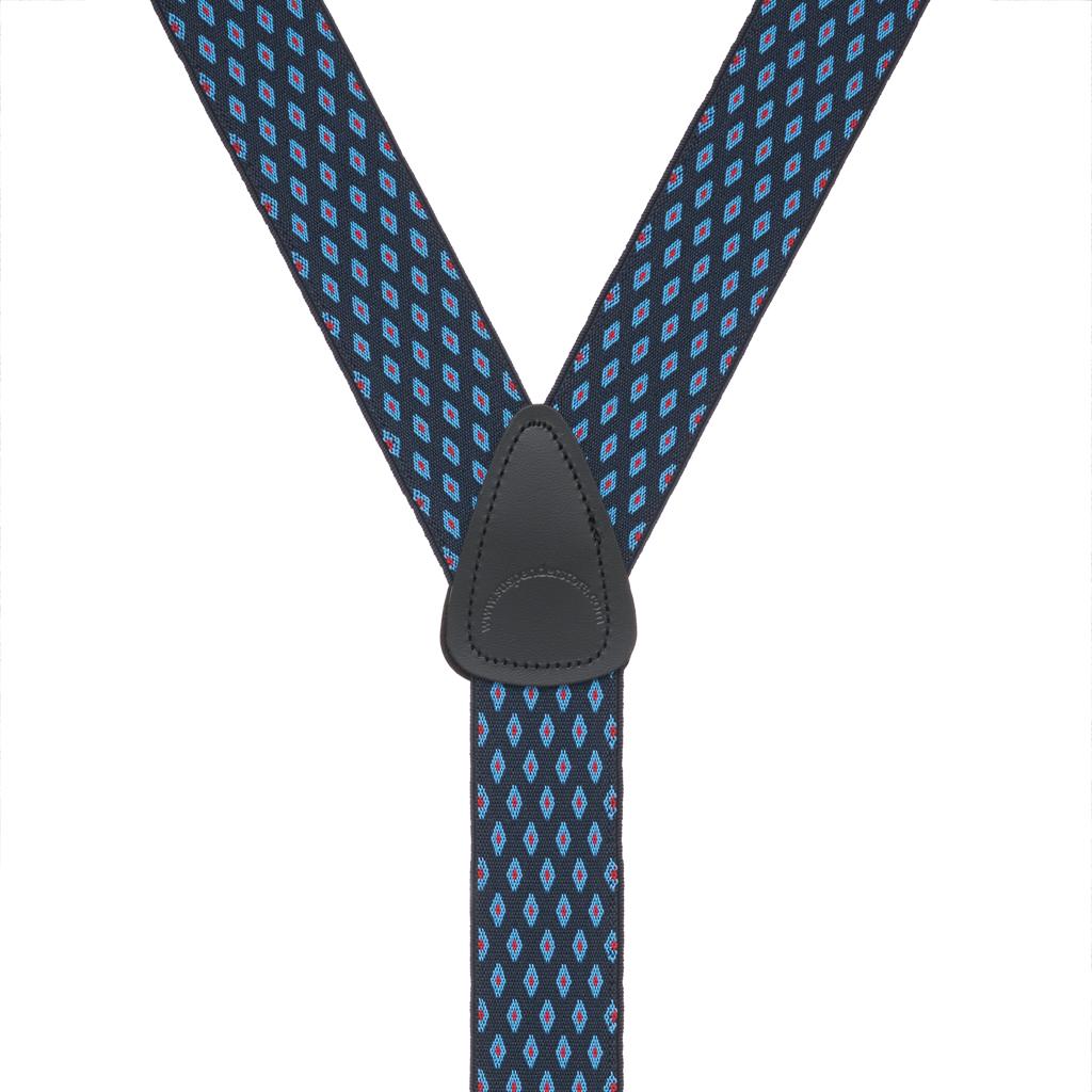 NAVY Jacquard Diamond Burst Suspenders - Button - Detailed Rear View