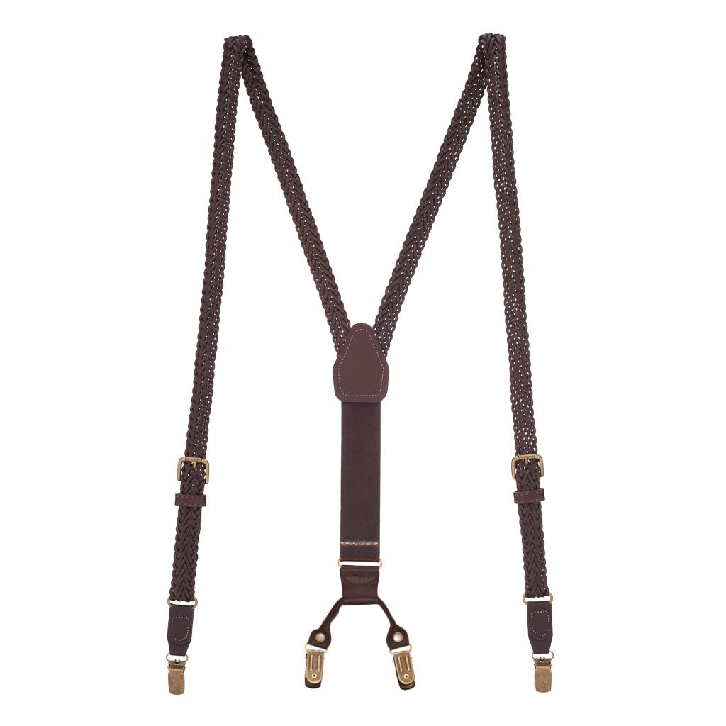Herringbone Braided Leather Clip Suspenders in Brown - Full View