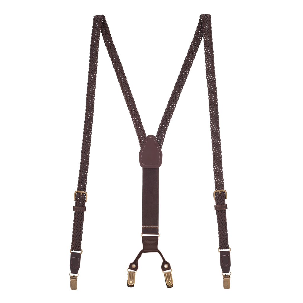 Herringbone Braided Leather Clip Suspenders in Brown - Full View