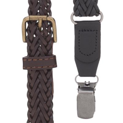 Herringbone Braided Leather Suspenders - Clip