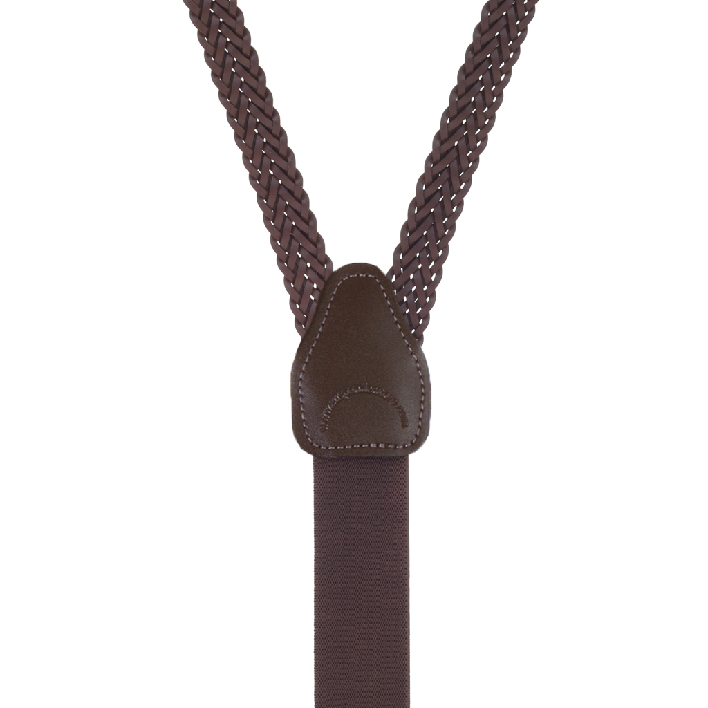 Herringbone Braided Leather Clip Suspenders in Brown - Rear View